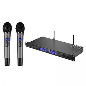 ammoon Microphone Professionnel UHF Sans Fil Système de Micro Dual Canaux Récepteur avec Écran LCD 2 Microphones PDA 6,35 mm Adaptateur Audio Câble D'alimentation Noir de la marque ammoon image 0 produit