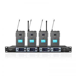ammoon Système de Microphone Sans Fil 4 Canaux 4T UHF 4 Microphones 1 Récepteur Sans Fil Câble Audio de 6,35 mm Affichage LCD pour Karaoké Soirée de la marque ammoon image 0 produit
