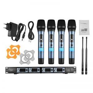 ammoon Système de Microphone Sans Fil 4D 4 Canaux UHF 4 Microphones 1 Récepteur Sans Fil Câble Audio de 6,35 mm Affichage LCD pour Karaoké Soirée de la marque ammoon image 0 produit