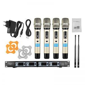 ammoon Système de Microphone Sans Fil Professionnel 4 Canaux 4D-B UHF 4 Microphones 1 Récepteur Sans Fil Câble Audio de 6,35 mm Affichage LCD pour Karaoké Soirée de la marque ammoon image 0 produit