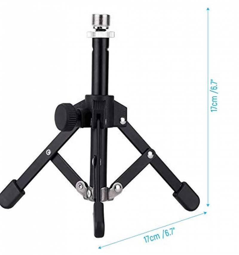 ammoon Tr/épied Support de Microphone pour Bureau et Table Mini Pliable Noir MS-12