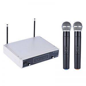 ammoon VHF Système de microphone sans fil Deux canaux Affichage LCD Récepteur 2 micros Câble Audio 6.35mm Adaptateur secteur pour la réunion de karaoké de la marque ammoon image 0 produit