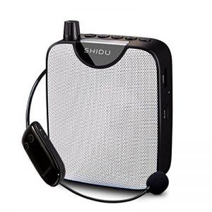 Amplificateur vocal, SHIDU Amplificateur vocal sans fil 10W Rechargeable Portable PA System Speaker avec FM sans fil Microphone Casque Support MP3 Play pour les enseignants,Yoga,guides touristiques de la marque SHIDU image 0 produit