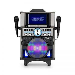 """Auna DisGo Box 360 • Lecteur Karaoké • Port USB • Bluetooth • écran 7"""" • Lumières LED • 30W RMS • Poignée et roulettes • Batterie • 2 micros • Noir de la marque Auna image 0 produit"""