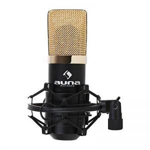 auna MIC-900BG Micro à condensateur USB (utilisation studio avec suspension, connexion USB, capsule 16 mm, type cardioïde, 320 Hz - 18 KHz) - noir/or de la marque Auna image 0 produit