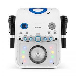 auna StarMaker • Chaîne karaoké • Lecteur CD • Bluetooth AUX USB • Effets LED • Sortie vidéo • A.V.C • 2 micros • Blanc de la marque auna multimedia image 0 produit