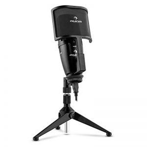 auna Studio-Pro Microphone USB à condensateur (bonnette anti-vent, câble et étui inclus, volume micro réglable, prise casque avec régleur de mixage) de la marque Auna image 0 produit