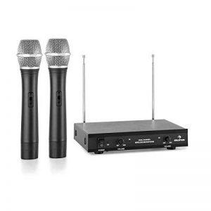 auna VHF-2-H • Microphone sans fil VHF 2 canaux • Système de microphone radio • 2 microphones sans fil • portée 50 m • Contrôle du volume • LED • Longues durées de fonctionnement • Sorties Jack • noir de la marque Auna image 0 produit
