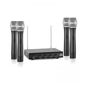 Auna VHF-4-H Set sans Fil 4 canaux VHF 4X Micro à Main (jusqu'á 50m, récepteur Compact avec boîtier métallique et façade en Aluminium, antenne télescopique) de la marque Auna image 0 produit
