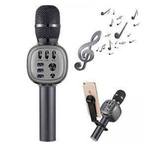 Beschoi Karaoke Micro sans Fil 4 en 1 Microphone Bluetooth 4.2 LED Lumière Disco avec Support Telephone Compatible avec Apple/Android/Smartphone/PC/iphone/iPad pour Adult et Enfant Gris de la marque Beschoi image 0 produit
