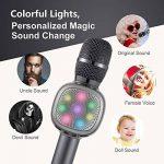 Beschoi Karaoke Micro sans Fil 4 en 1 Microphone Bluetooth 4.2 LED Lumière Disco avec Support Telephone Compatible avec Apple/Android/Smartphone/PC/iphone/iPad pour Adult et Enfant Gris de la marque Beschoi image 4 produit