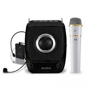 Bluetooth 4.0 Amplificateur de voix portable ,haut parleur avec micro casque + UHF Compact Handheld Microphone Sans Fil pour Karaoké, Enseignants, Guides Touristiques, Baskets (25 Watts ) de la marque SHIDU image 0 produit