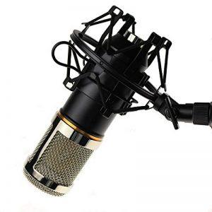 BM-800 Microphone Enregistrement Studio Radio Kit Inclus (1) Microphone à Condensateur Professionel Noir + (1) Support de Microphone Antichoc + (1) Bouchon Anti-Vent en Mousse + (1) Câble d'Alimentation - MK001 de la marque Modesty image 0 produit