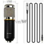 BM-800 Microphone Enregistrement Studio Radio Kit Inclus (1) Microphone à Condensateur Professionel Noir + (1) Support de Microphone Antichoc + (1) Bouchon Anti-Vent en Mousse + (1) Câble d'Alimentation - MK001 de la marque Modesty image 1 produit