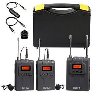 BOYA Système de Microphone sans fil UHF double canal avec émetteur, deux récepteurs, micro cravate Omnidirectionnel pour ENG/EFP, DSLR Vidéo de la marque Boya image 0 produit