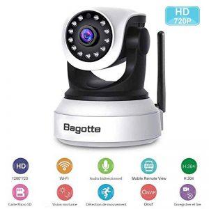 Caméra IP WiFi,Caméra Surveillance WiFi,Bagotte HD 720P Caméra de Sécurité sans Fil avec Vision Nocturne,Détection de Mouvement,Audio bidirectionnel pour sécurité à la Maison/Bébé/Animaux de compagnie de la marque image 0 produit