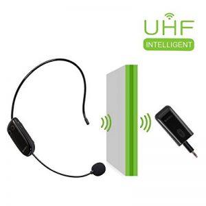 Casque de microphone sans fil UHF Casque mural super puissant avec émetteur sans fil portable 2 en 1 pour amplificateur de voix, PC, haut-parleur, compatible avec tous les périphériques de la marque SHIDU image 0 produit