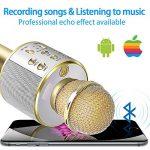 DAMIGRAM Bluetooth Microphone Karaoké, Portable intégré Bluetooth 4.1Multi-fonction Karaoké Microphone Handheld Mic pour chanter, Karaoké, Fête, Enregistrement (Gold) de la marque DAMIGRAM image 2 produit