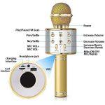 DAMIGRAM Bluetooth Microphone Karaoké, Portable intégré Bluetooth 4.1Multi-fonction Karaoké Microphone Handheld Mic pour chanter, Karaoké, Fête, Enregistrement (Gold) de la marque DAMIGRAM image 1 produit
