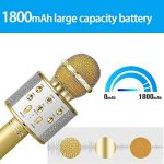 DAMIGRAM Bluetooth Microphone Karaoké, Portable intégré Bluetooth 4.1Multi-fonction Karaoké Microphone Handheld Mic pour chanter, Karaoké, Fête, Enregistrement (Gold) de la marque DAMIGRAM image 4 produit