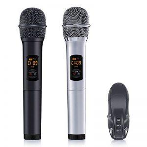 ELEGIANT Microphone sans Fil Micro Blutooth Portable de Système VHF avec Double Micro Dynamique Micro Multifonctionnel pour la Mariage à L'extérieur Karaoké DJ Soirée Fête Réunion Bar Eglise de la marque ELEGIANT image 0 produit