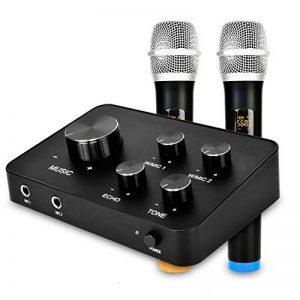 Ensemble de système de mixage mixer de microphone portable karaoké, avec double micro sans fil UHF, entrée/sortie HDMI et AUX pour karaoké, cinéma maison, amplificateur, haut-parleur de la marque Rybozen image 0 produit