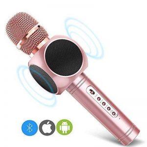 ERAY Microphone Sans Fil Karaoké Portable Bluetooth, Micro Sans Fil pour Chanter avec 2 Haut-Parleur Intégré, Compatible avec Apple/ Android/ PC/ iPad, Idéal pour Party Voyage Camping - Rose de la marque ERAY image 0 produit