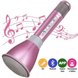 HooYL Microphone Bluetooth sans Fil Portable Karaoke Player Enregistrement des Chansons Compatible avec Apple iPhone Android Smartphone PC iPad pour Jouer de la Musique, Chanter (Or Rose) de la marque HooYL image 0 produit