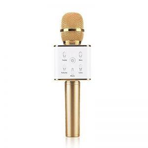 JTD Microphone Q7 Bluetooth Micros Sans Fil Portable Haut-parleur KTV Karaoké pour iOS iPhone Android Smartphone PC Tablette (Or) de la marque image 0 produit