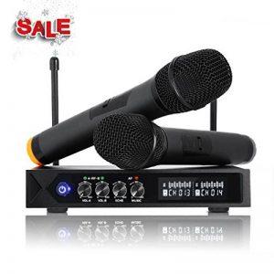 Karaoke Micro sans fil Bluetooth 4.1, LESHP S9-UHF Micros karaoké Professionnel avec 2 Microphones à Main pour Chanter, Fête, Conférence, Spectacle, Bar, Réunion, Studio de la marque ROXTAK image 0 produit