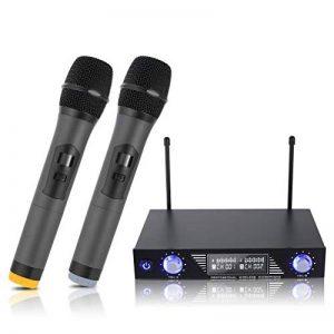Karaoke Micro sans fil, LESHP MV-878 UHF Micros karaoké Professionnel avec 2 Microphones sans fil et Écran LCD pour Chanter, Fête, Conférence, Spectacle, Bar, Réunion, Studio, Marriage de la marque ROXTAK image 0 produit