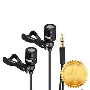 Lavalier Micro-cravate à double tête d'enregistrement à clipser Micro Mini micro pour iPhone iPad et Android Smartphone de la marque Belingeya image 0 produit
