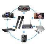 LESHP Système de microphone sans fil avec écran LCD dynamique Dual Channel Microphones de poche Karaoké Mixer pour mariage en plein air, Conférence, Karaoké, Soirée de la marque LESHP image 1 produit