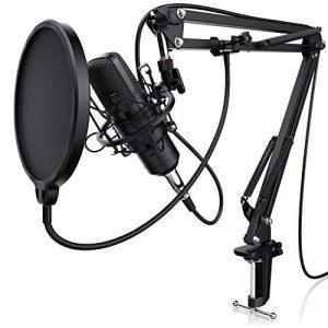 LIAM & DAAN - Microphone à condensateur + Support de Bras réglable + Suspension Antichoc + 1 Filtre Anti-Pop + 1 Filtre Anti-Vent | Microphone de Studio Phantom +48V | Câble XLR/Jack 3,5mm Inclus de la marque LIAM & DAAN image 0 produit