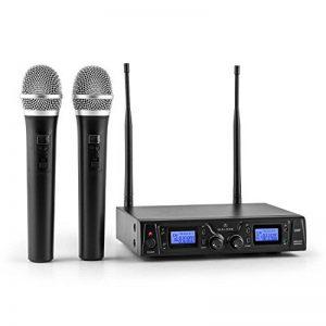 Malone Duett Pro V1 • Set de microphones sans fil 2 canaux UHF • Système de microphones sans fil • 2 microphones à main sans fil • Portée de 50 m • Protection anti-pop • Grande autonomie • Noir de la marque Malone image 0 produit