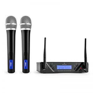 Malone UHF-450 Duo 1 • Set de Microphones sans Fil 2 canaux UHF • Système de Microphones sans Fil • 2 Microphones à Main • Bande de fréquences : 823-832MHz par Canal • LED • Grande autonomie • Noir de la marque Malone image 0 produit
