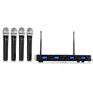 Malone UHF-550 Quartett 1 • Set de microphones sans fil 4 canaux UHF • Système de microphones sans fil • 4 microphones à main sans fil • Bande de fréquences : 823-832 MHz • Grande autonomie • Noir de la marque Malone image 0 produit