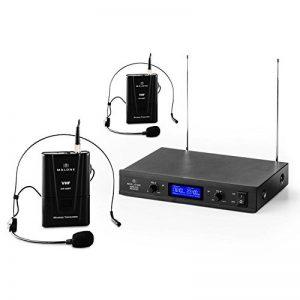 Malone VHF-400 Duo2 • Set Micro-Casques 2 canaux • Système de Microphones sans Fil • Emission à 50 mètres • Suppresseur de Bruit intégré • Longue durée de Fonctionnement • Distorsion: image 0 produit