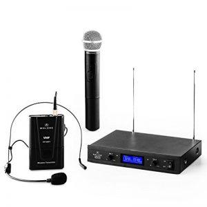 Malone VHF-400 Duo3 • Set de Microphones sans Fil 2-canaux-VHF • Micro Manuel et Casque-Micro • Emission à 50 mètres • Système Interne de réduction du Bruit • Longue durée d'utilisation • Noir de la marque Malone image 0 produit