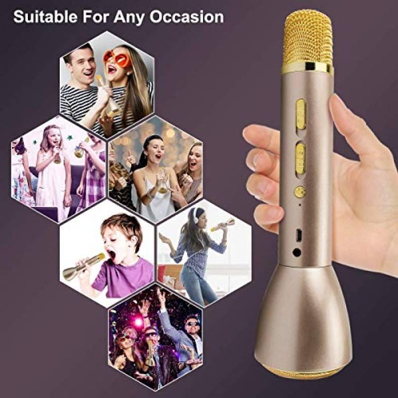 Microphones Karaok/é sans Fil Haut-Parleur Bluetooth Portable KTV Player Mini Home KTV Musique Syst/ème de Jeu et de Chant pour iPhone//Android Smartphone//Tablet