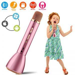 Micro Karaoké,Bluetooth Sans Fil Karaoke Microphone,Mini Portable Micro Karaoke Microphone Intégré usb pour Enfant Enceinte Chanter Home KTV Player Musique Système Android ios PC Smartphone de la marque Kindak image 0 produit