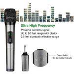 Micro sans fil Karaoké 2 Microphone UHF 10 Canaux avec 1 Récepteur Bluetooth (batterie au lithium intégrée)+2 Connecteur de 6.35 et 3.55 Micro HF à Main Dynamiques Portables pour Haut-parleurs Fête de la marque ARCHEER image 3 produit