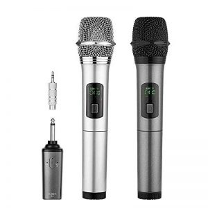 Micro sans fil Karaoké 2 Microphone UHF 10 Canaux avec 1 Récepteur Bluetooth (batterie au lithium intégrée)+2 Connecteur de 6.35 et 3.55 Micro HF à Main Dynamiques Portables pour Haut-parleurs Fête de la marque ARCHEER image 0 produit