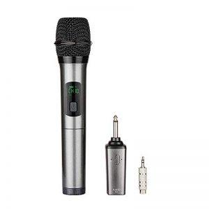 Micro sans fil Karaoké Microphone UHF 10 Canaux avec 1 Récepteur Bluetooth (batterie au lithium intégrée)+2 Connecteur de 6.35 et 3.55 Micro HF à Main Dynamiques Portables pour Haut-parleurs DJ Fête de la marque ARCHEER image 0 produit