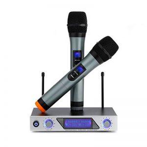 Micro Sans Fil Microphone Professionnel Sans Fil Microphone Dynamiques VHF Portable Set de 2 Micro Sans Fil ¡§¡è Main Micro HF Compatible avec Karaok¡§| R¡§|union Conf¡§|rence de la marque Sumbay image 0 produit