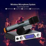 Micro Sans Fil Microphone Professionnel Sans Fil Microphone Dynamiques VHF Portable Set de 2 Micro Sans Fil ¡§¡è Main Micro HF Compatible avec Karaok¡§| R¡§|union Conf¡§|rence de la marque Sumbay image 1 produit