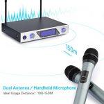 Micro Sans Fil Microphone Professionnel Sans Fil Microphone Dynamiques VHF Portable Set de 2 Micro Sans Fil ¡§¡è Main Micro HF Compatible avec Karaok¡§| R¡§|union Conf¡§|rence de la marque Sumbay image 2 produit