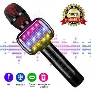 Microfono karaoke, Microphone de karaoké sans fil Bluetooth pour enfants Machine de poche karaoké portable avec haut-parleur pour adulte. KTV extérieur. de la marque OXOQO image 0 produit