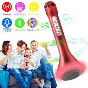 Microphone Bluetooth Sans Fil, Mini Portable Microphone Karaoke Enfants Microphone Enceinte Player Enregistrement des Chansons Compatible avec iPhone Android PC iPad pour Jouer de la Musique - (Rouge) de la marque WOSTOO image 0 produit