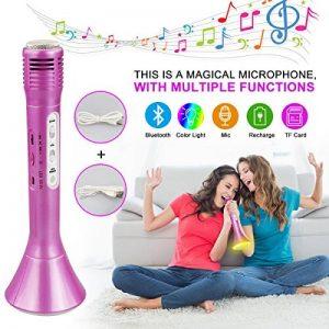 Microphone Bluetooth Sans Fil, Portable Karaoké Microphone Haut-parleur Player, Karaoke à la maison musique chanson Enfants/Adultes Sur PC ordinateur portable iPhone SamSung Android (Rose) de la marque Philonext image 0 produit
